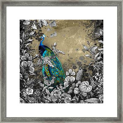 Peacock Pop Up Book Illustration Framed Print