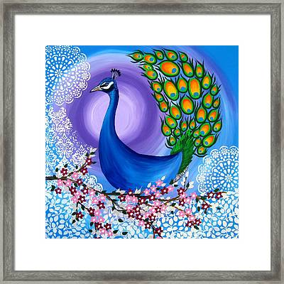 Peacock Spirit Animal Framed Print by Cathy Jacobs