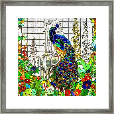 Peacock Stained Glass Framed Print