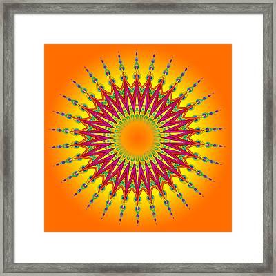 Peacock Sun Mandala Fractal Framed Print