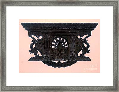 peacock window from Bhaktapur Nepal Framed Print