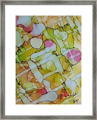 Peaking Through The Chain Link Fence Into The City Garden Framed Print by Tammy Finnegan