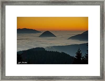 Peaks Above The Fog At Sunset Framed Print