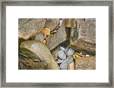 Peaks Island Rock Abstract Photo Framed Print by Peter J Sucy