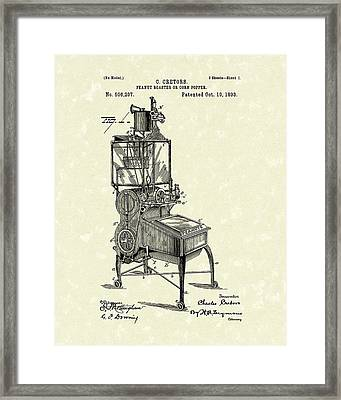 Peanut Roaster Or Corn Popper 1893 Patent Art Framed Print