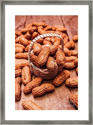 Peanuts In Tiny Basket In Close-up Framed Print