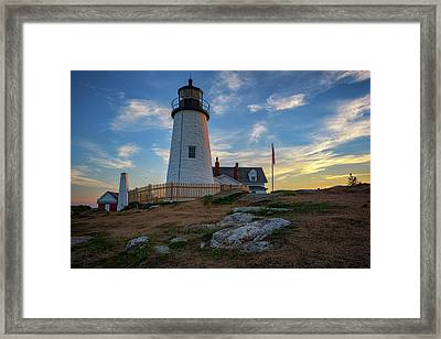 Pemaquid Point Lighthouse At Sunset Framed Print by Rick Berk