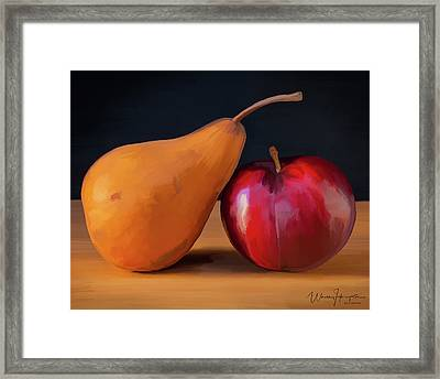 Pear And Plum 01 Framed Print by Wally Hampton