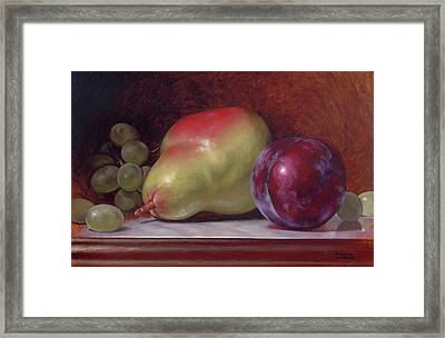 Pear And Plum Framed Print