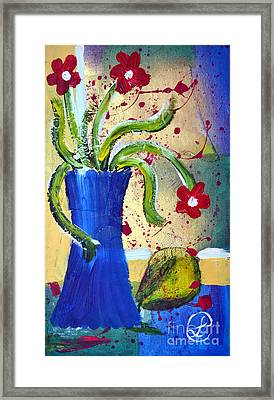Pear And Red Flowers Framed Print