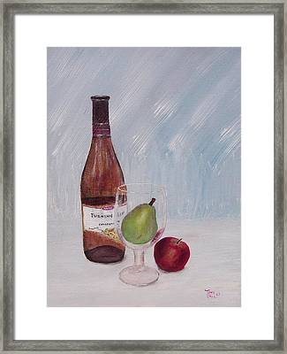Pear In Glass Framed Print by Tony Rodriguez