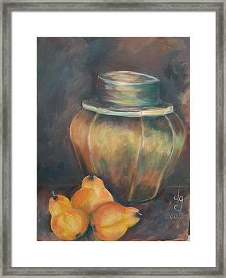 Pear Jar Framed Print by Judie Giglio