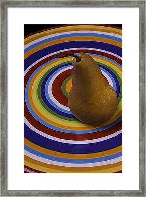 Pear On Circle Plate Framed Print by Garry Gay