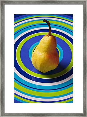 Pear On Plate With Circles Framed Print by Garry Gay
