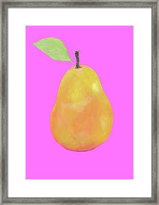 Pear Painting On Pink Background Framed Print by Jan Matson
