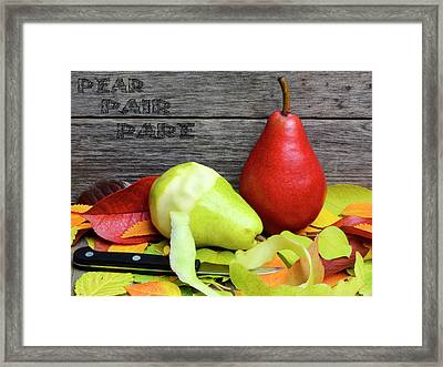 Pear, Pair, Pare - Play On Words Autumn Harvest Scene Framed Print by Rayanda Arts