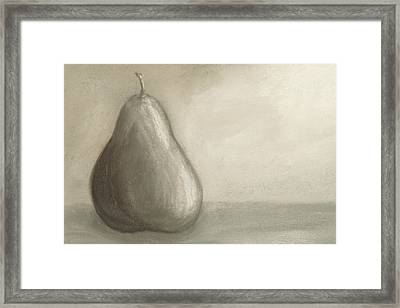 Pear Study In Gray Framed Print by Cheryl Albert