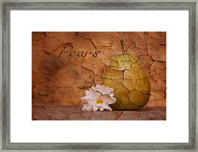 Pear With Daisy Framed Print