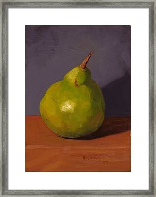Pear With Gray Framed Print