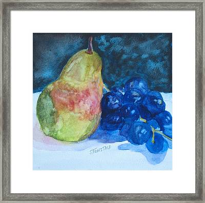 Pearcial To Grapes Framed Print by Jenny Armitage