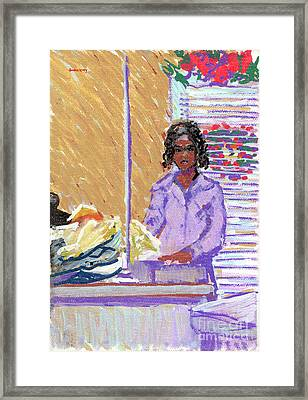 Pearl At The Clothes Press Framed Print
