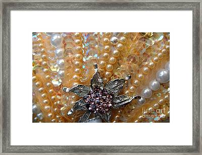 Pearl Bead Embroidery, Close-up Framed Print by Sofia Metal Queen