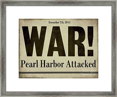 Pearl Harbor Attack Newspaper Headline Framed Print by Mindy Sommers