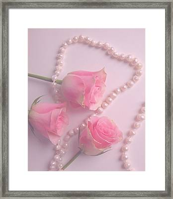 Pearls And Roses Framed Print
