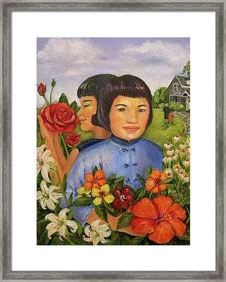Pearl's Flowers Framed Print by Aurelia Nieves-Callwood