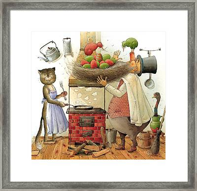 Pearman And Cat Framed Print by Kestutis Kasparavicius