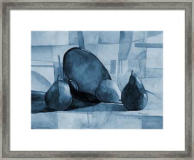 Pears And Blue Bowl On Blue Framed Print by Hailey E Herrera
