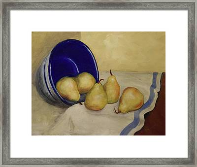 Pears And Blue Bowl Framed Print