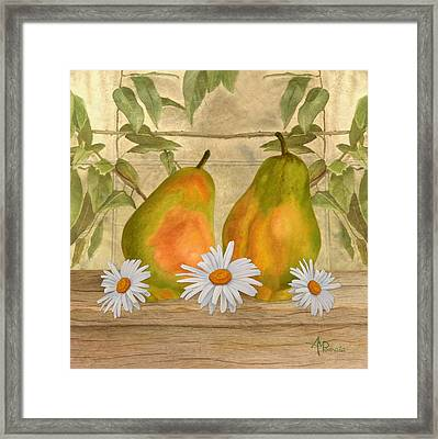 Pears And Daisies Framed Print by Angeles M Pomata