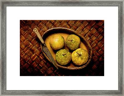 Pears And Dish Framed Print