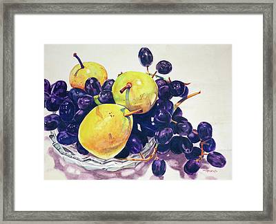Pears And Grapes Framed Print