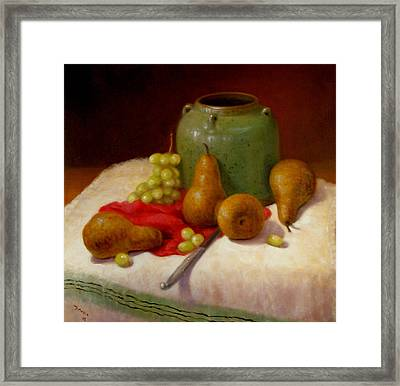 Framed Print featuring the painting Pears And Grapes by Donelli  DiMaria