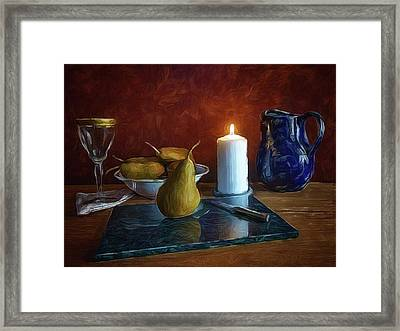 Pears By Candlelight Framed Print by Mark Fuller