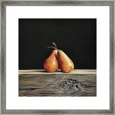 Pears Framed Print by Elena Kolotusha