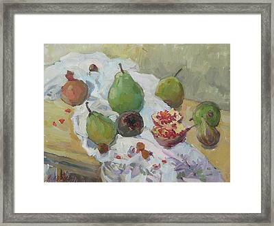 Pears Figs And Young Pomegranates Framed Print