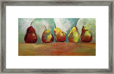 Pears In A Row Framed Print by Barbara Hranilovich