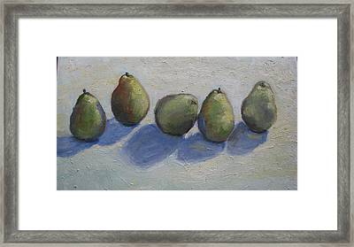 Pears In A Row Framed Print