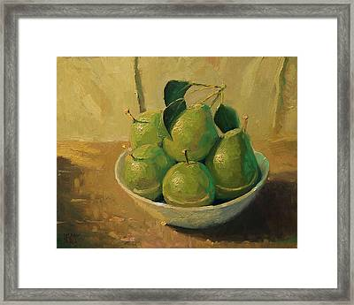 Pears In A White Bowl Framed Print by Robert Lewis