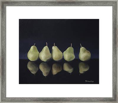 Pears In Black Framed Print