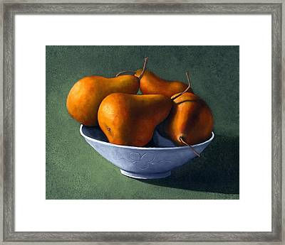 Pears In Blue Bowl Framed Print