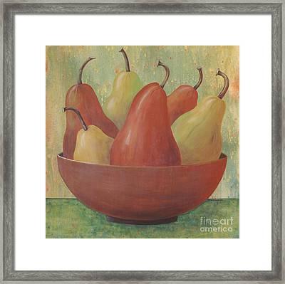 Pears In Copper Bowl Framed Print