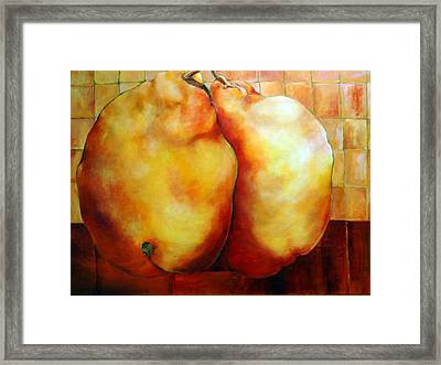 Pears In Love Framed Print by Nadine Dennis
