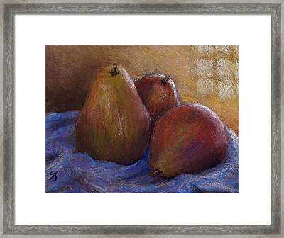 Pears In Natural Light Framed Print by Susan Jenkins