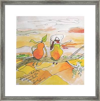Pears On A Road Trip Framed Print by Caroline Henry