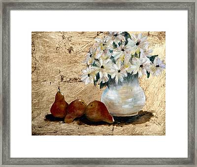 Pears On Gold Framed Print by Merle Blair