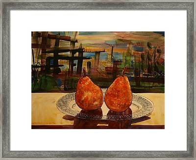 Pears On A Crystal Plate Framed Print by Shirley Sykes Bracken